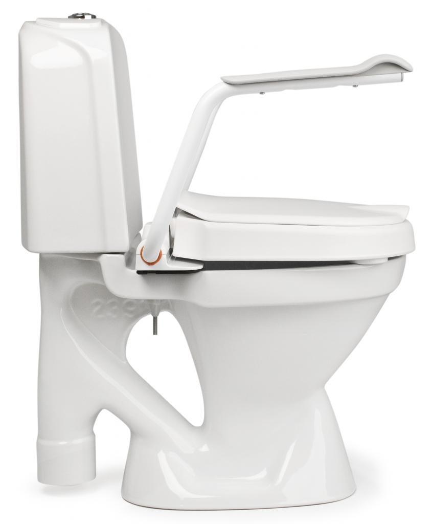 FÖRHÖJD WC-SITS MED ARMSTÖD 6 CM